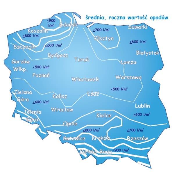 Roczna wartość opadów w Polsce
